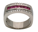Ruby, Diamond and 18ct White Gold